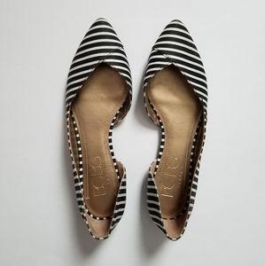 BCBG Black and White Striped Flats Size 7.5